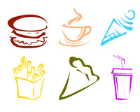 Iconos de los alimentos de preparación rápida Imágenes de archivo libres de regalías