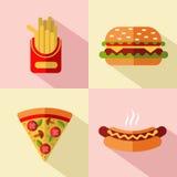 Iconos de los alimentos de preparación rápida Imagen de archivo libre de regalías