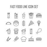 Iconos de los alimentos de preparación rápida stock de ilustración