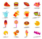 iconos de los alimentos de preparación rápida fijados Fotografía de archivo
