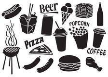 iconos de los alimentos de preparación rápida fijados Foto de archivo libre de regalías