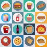 iconos de los alimentos de preparación rápida fijados stock de ilustración