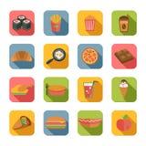 Iconos de los alimentos de preparación rápida planos Imagen de archivo libre de regalías