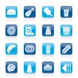 Iconos de los alimentos de preparación rápida y de la bebida Imagen de archivo libre de regalías
