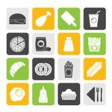 Iconos de los alimentos de preparación rápida y de la bebida de la silueta Fotografía de archivo