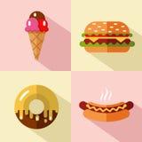 Iconos de los alimentos de preparación rápida y del postre Foto de archivo
