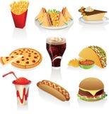 Iconos de los alimentos de preparación rápida Imagen de archivo