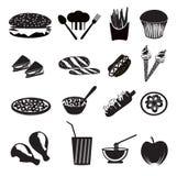 Iconos de los alimentos de preparación rápida Imagenes de archivo