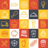 Iconos de los alimentos de preparación rápida del vector Foto de archivo