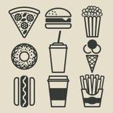 iconos de los alimentos de preparación rápida fijados Imagen de archivo libre de regalías