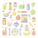 Iconos de los alimentos para niños fijados Ilustración del Vector