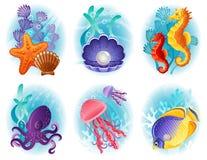 Iconos de los animales de mar Imágenes de archivo libres de regalías