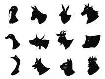 Iconos de los animales del campo fijados Imágenes de archivo libres de regalías