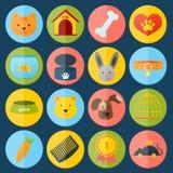 Iconos de los animales domésticos fijados Imagen de archivo libre de regalías
