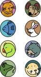 Iconos de los animales domésticos Imágenes de archivo libres de regalías