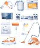 Iconos de los aparatos electrodomésticos del vector ilustración del vector