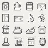 Iconos de los aparatos electrodomésticos: lavadora, tetera, horno, TV, refrig stock de ilustración