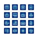 Iconos de los aparatos electrodomésticos fijados Imagen de archivo libre de regalías