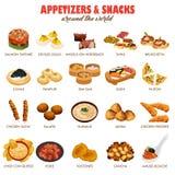 Iconos de los aperitivos y de los bocados ilustración del vector