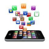 Iconos de los apps de Smartphone Fotografía de archivo