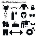Iconos de los artes marciales de la mezcla fijados Foto de archivo