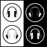 Iconos de los auriculares del vector Fotografía de archivo