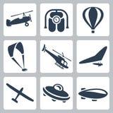 Iconos de los aviones del vector fijados Imagen de archivo