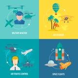 Iconos de los aviones fijados Fotografía de archivo libre de regalías