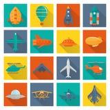 Iconos de los aviones fijados stock de ilustración