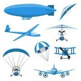 Iconos de los aviones fijados en el fondo blanco Paracaídas, dirigible, Caída-planeador, aeroplano, Trike, planeador, Paraplane Fotos de archivo