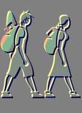 ICONOS DE LOS BACKPACKERS Imagen de archivo