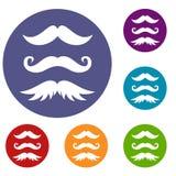 Iconos de los bigotes fijados stock de ilustración