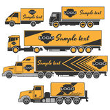 Iconos de los camiones fijados stock de ilustración
