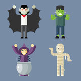 Iconos de los caracteres de Halloween fijados en elegante Fotografía de archivo libre de regalías