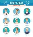 Iconos de los caracteres de la tripulación de barco fijados libre illustration