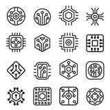 Iconos de los chips de ordenador y del circuito electrónico en la línea estilo fina ilustración del vector