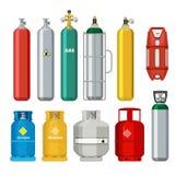 Iconos de los cilindros de gas El tanque del metal del combustible de la seguridad del petróleo de objetos de la historieta del v ilustración del vector