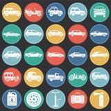 Iconos de los coches fijados en el fondo de los círculos de color para el gráfico y el diseño web Muestra simple del vector Símbo libre illustration