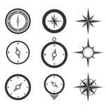 Iconos de los compases de la navegación fijados Stock de ilustración