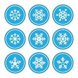 Iconos de los copos de nieve como escrituras de la etiqueta retras Imágenes de archivo libres de regalías