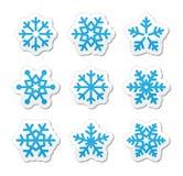 Iconos de los copos de nieve de la Navidad fijados Foto de archivo libre de regalías