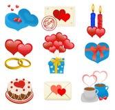 Iconos de los corazones de la tarjeta del día de San Valentín Fotos de archivo