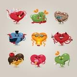 Iconos de los corazones de las tarjetas del día de San Valentín fijados Imagenes de archivo