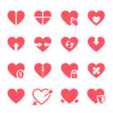 Iconos de los corazones del vector fijados stock de ilustración