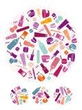 Iconos de los cosméticos Imagen de archivo libre de regalías