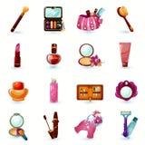 Iconos de los cosméticos fijados Imágenes de archivo libres de regalías