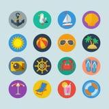 Iconos de los días de fiesta del mar del verano Imagen de archivo