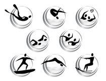 Iconos de los deportes acuáticos del verano Imagen de archivo