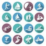 Iconos de los deportes acuáticos fijados libre illustration