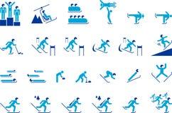 Iconos de los deportes de invierno Foto de archivo libre de regalías